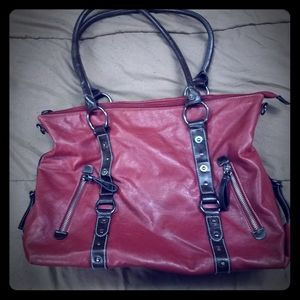 Red and black soft vynal bag purse